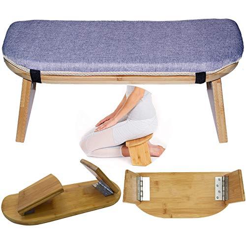 Faltbare Meditationsbank, tragbar, faltbar, perfekter Kniehocker, ergonomische Bambus-Yoga-Bank, für Teezeremonie, Seiza, Yoga, Beten und gesünderes Sitzen