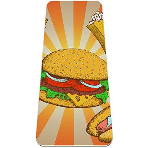 Pilatesmatte Gymnastikmatte,Yogamatte rutschfest aus TPE,Cartoon Popcorn Hamburger Pommes Frites Hot Dog Eiscreme ,Übungsmatte Sportmatte für Yoga,Pilates,Fitness