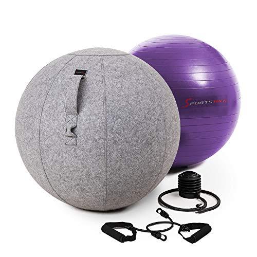 Sportstech Gymnastikball 65cm - Zuhause & Büro |Sitzball ergonomisch für Yoga, Pilates, Schwangerschaft & Home Gym | Massage Ball/ Balance Stuhl, Beckenboden Trainingsgerät + Fitness Zubehör| YOBA100
