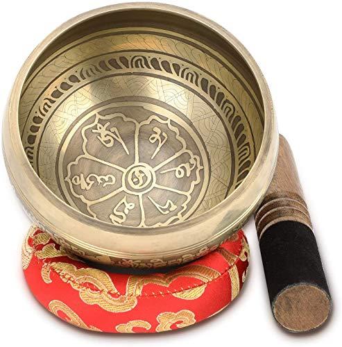 Tibetische Klangschale, 4.5' Handgefertigte Klangschalen Set Meditation Sound Bowl Set mit Dual Surface Mallet...