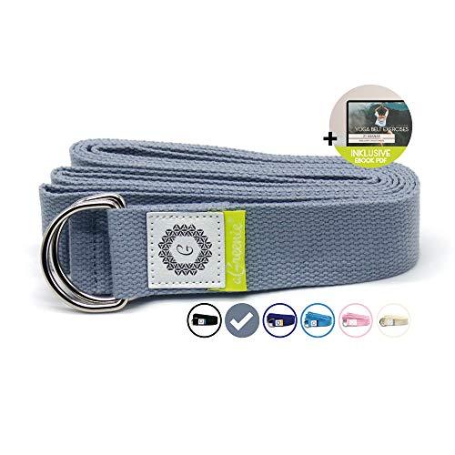 aGreenie Premium Yoga Gurt aus 100% Bauwolle - 240 x 3,8cm - Yoga Band für eine intensivere Dehnung - Cotton...