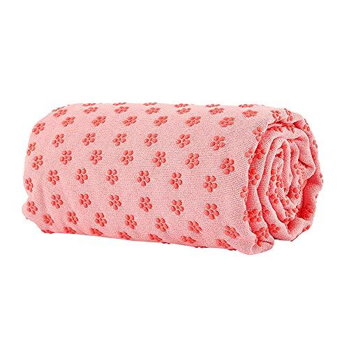 Yogadecke - [183 x 63 cm] - Meditationsdecke - Hot Yoga Towel mit Antirutsch-Noppen - Yogatuch aus Schnelltrocknender Mikrofaser (Rosa)