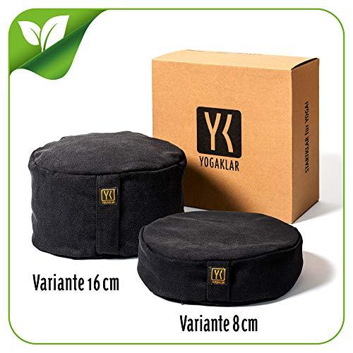 Yoga- und Meditationskissen 8 cm aus Baumwolle gefüllt mit Buchweizenspelzen – stabil, pflegeleicht und...