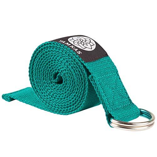 Yamkas Yoga Gurt 100% Bio Baumwolle   1.8M - 3M Lang   Yogagurt mit Verschluss aus Metall   Yoga Strap Stretch Band   Türkis