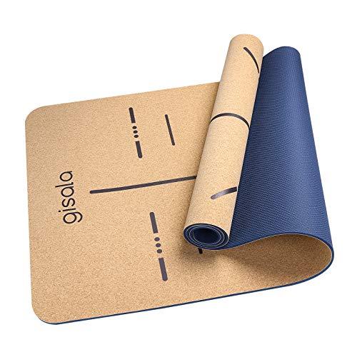 gisala Yogamatte aus Kork und Naturkautschuk (183 x 65 x 0,6 cm), Yoga Matte rutschfest für Gymnastik, Pflegeleichte Sportmatte mit Tragegurt