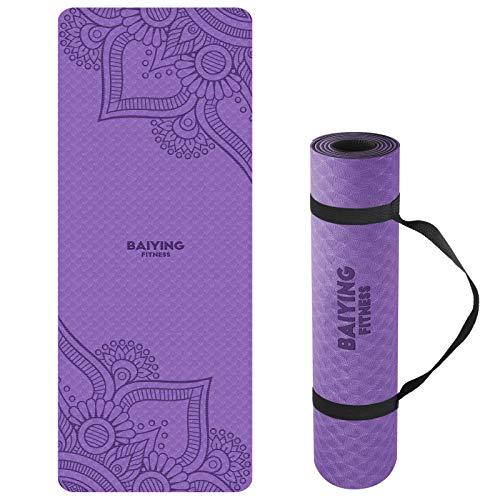 BAIYING Yogamatte, TPE Gymnastikmatte rutschfest Fitnessmatte für Workout Umweltfreundlich Übungsmatte Sportmatte für Yoga, Pilates Heimtraining, 183 x 61 x 0.6CM (PURPLEBLACK)