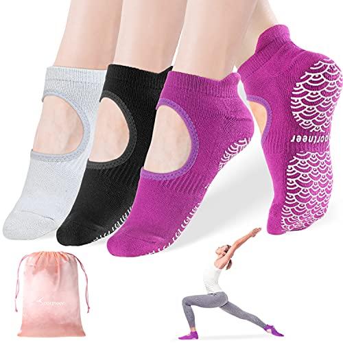 Yoga Socken für Frauen rutschfeste Socken mit Griffen, 3er Pack, Anti-Rutsch für Pilates, Barre, Ballett, Tanz, Barfuß Workout Fitness Hospital Socken, Größe 5-11