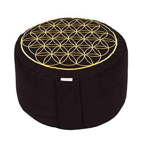 Yogabox Meditationskissen Glückssitz Blume des Lebens schwarz/Gold, schwarz
