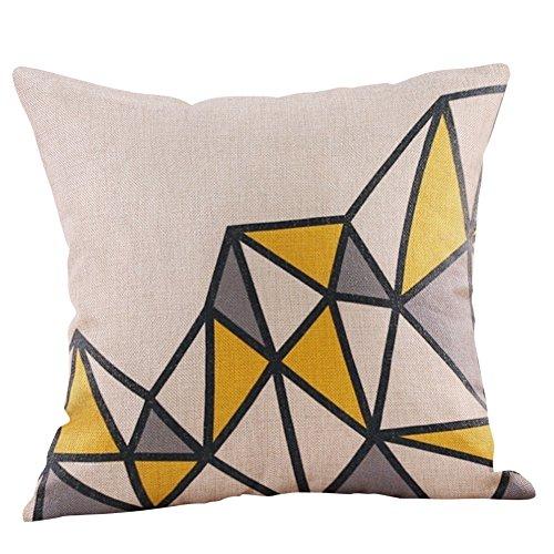 Doingshop Schlafkissen Gelbes Kissen Geometrisches Muster Quadrat Kissenbezug Autumn Cushion Cover Decoration