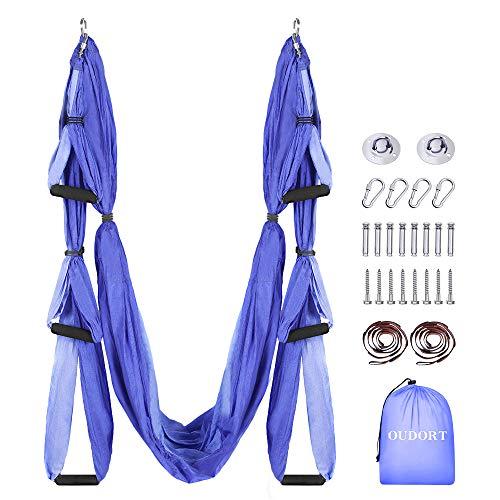 Oudort Aerial Yoga Hängematte Set, Yoga Schaukel Set mit 2 Verlängerungsgurten für Fitness zu Hause,...