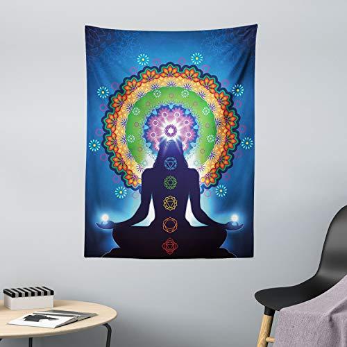 ABAKUHAUS Chakra Wandteppich Mandala Chakra Yogaaus Weiches Mikrofaser Stoff 110x150cm Für das Wohn und Schlafzimmer Multicolor