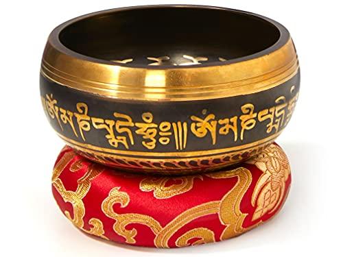 Tibetische Klangschale Set, schwarz, mit Klöppel und Klangschalenkissen in Loktapapier Geschenk-Box. Singing...