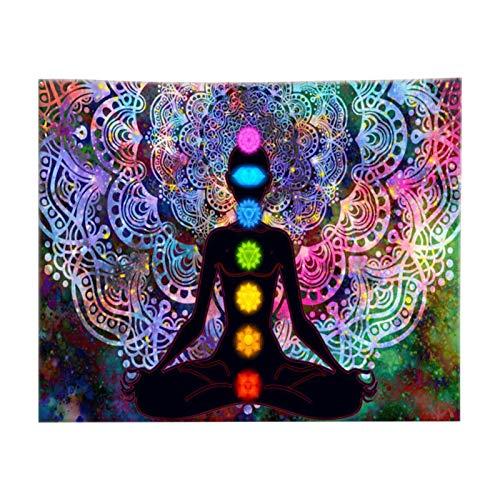 POHOVE Wandteppich mit sieben Chakren, Yoga, Meditation, bunt, Mandala-Wandteppich mit Installationsset, indisches Hippie-Chakra-Tapisserie, Wandbehang für Studio-Raumdekoration (3 Größen)