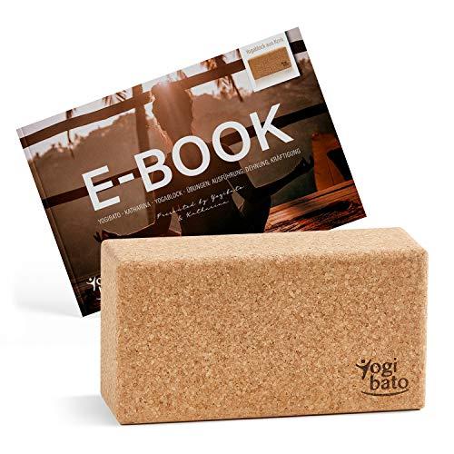 Yogibato Yogablock Kork & E-Book mit Übungen   Yoga Block 1er Pack   Natur Korkblock für Yoga und Fitness – Pilates & Hatha Klotz – Cork Brick – Yogaklotz 100% Naturkork