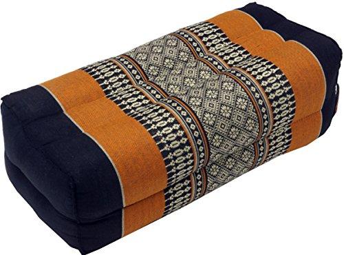 Guru-Shop Meditationskissen, Blockkissen, Eckiges Yoga Stützkissen, Thai Nackenstütze mit Kapok - Schwarz/orange, 10x20x30 cm, Meditationskissen & Sitzkissen