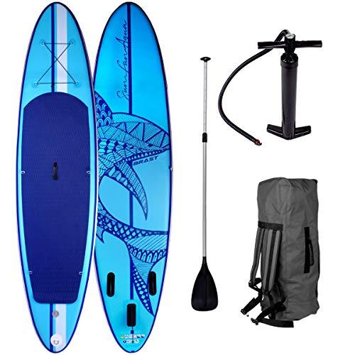 SUP Board Stand up Paddle Paddling Shark Blau 300x76x15cm aufblasbar Alu-Paddel Hochdruck-Pumpe...