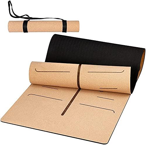 Anti-Rutsch Yoga Matte, Yogamatte Aus Kork, Korkmatte mit Hoher Dichte TPE für Yoga, Pilates, Fitness & Workout, Tragbare Übungsmatte mit Trageriemen, 187 x 66 x 0,7 cm