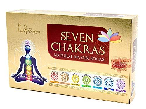 Räucherstäbchen Set 7 Chakren, indische Premium Masala Stäbchen, 7 Sorten Muladhara, Swadhisthana,...