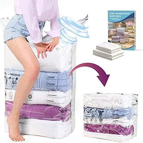 GlobaLink Vakuumbeutel Cube - 4 Stück Aufbewahrungsbeutel 5 Sekunden Kleiderbeutel Vakuum - 2*Jumbo (100*80*38CM) + 2*Groß (70*50*30CM) ohne Pumpe- 80% Platzsparend für Kissen Bettdecken Bettwäsche