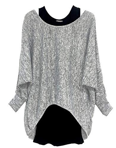 Emma & Giovanni - Damen Oversize Oberteile Tshirt/Pullover (2 Stück) / Made In Italy, M-L, Grau