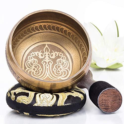 Silent Mind tibetische Klangschale Set ~ Bronze Mantra Design ~ mit hochwertigem Holz Klöppel und Himalaya...