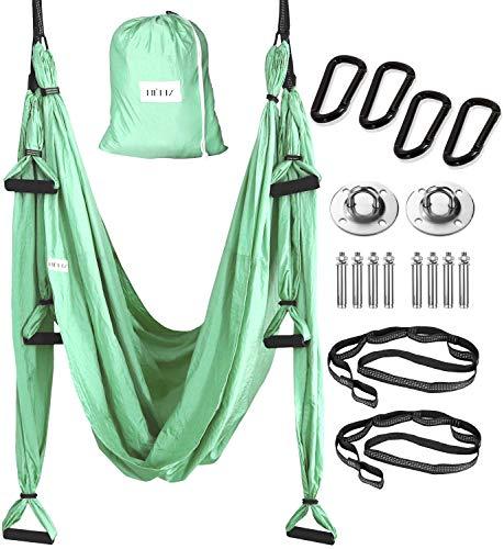 HELIZ Aerial Yoga & Fitness Schaukel | Komplettes Aerial Yoga Set | Karabinerhaken mit glatten Kanten | Yogatuch Set für zu Hause, Fitnessstudio, im Freien (Minzgrün)