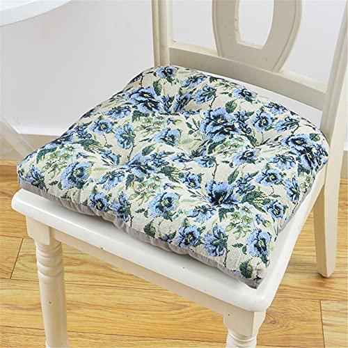 Morbuy Platz Form Stuhlkissen, Baumwolle Leinen Dicke Polsterung Sitzkissen für Gartenstuhl Bequeme Atmungsaktiv Indoor Outdoor Stuhlauflage (Blaue Blume,45 * 45)