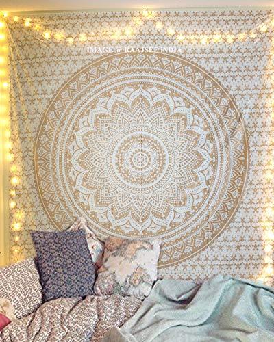 raajsee Indisch Psychedelic Wandteppich Mandala Glänzend Gold weiß, Elefant Boho Wandtuch Hippie Twin...