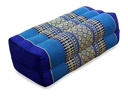 livasia Block Yogakissen eckig I Meditationskissen mit Kapok I Stützkissen Bolster rechteckig I Yoga Pilates Zubehör Nackenkissen I Thaikissen fest handgefertigt 17 x 34 x 12 cm (Blau)