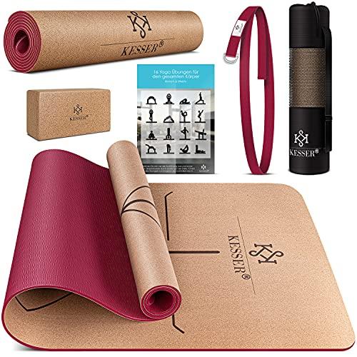 KESSER® Yogamatte Kork Inkl. Tragegurt Tasche & Yoga-Block Gymnastikmatte Yoga Matte rutschfest aus...