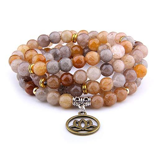 Hot Slae indischen Agat Naturstein Armband 108 Mala Yoga Halskette Matt Amazonit Schmuck Buddha Lotus Anhänger Armband Unisex