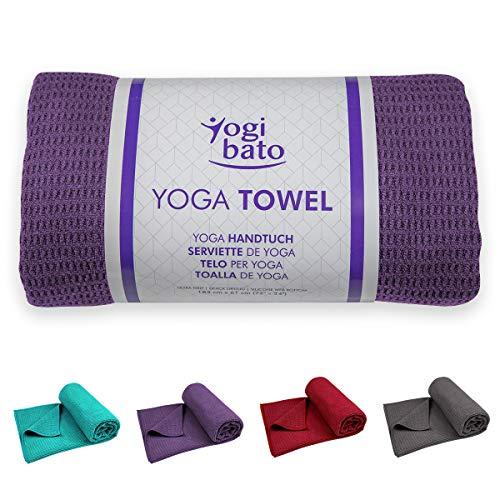 Yogibato Yoga Handtuch rutschfest & schnelltrocknend – Yogahandtuch Antirutsch – Mikrofaser Yogatuch – Non Slip Yoga Towel [183 x 61 cm] Violett