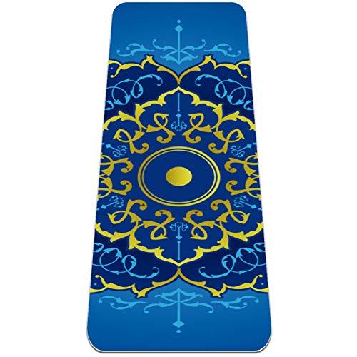 Eslifey Yoga-Matte mit Mandala-Motiv, dick, rutschfest, für Damen und Mädchen, weiche Pilates-Matten, 183 x 61 cm, 6,3 mm dick, Blau und Gold