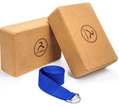 arteesol Yoga Block Kork, Yoga Block mit Gurt, Yoga Block 2er Set, Formstabile rutschfest Yogablock, Beste Hilfsmittel für Yoga-Training