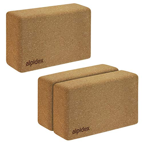 ALPIDEX Yogablock aus Kork 23 x 14 x 7,5 cm einzeln und im 2er Set Korkblock Fitnessblock Yogaklotz - 2 Stück