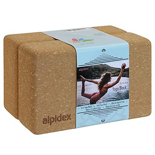 ALPIDEX Yogablock Kork 2er Set ökologisch und nachhaltig Naturkork aus Portugal Korkblock Yoga Pilates Fitness
