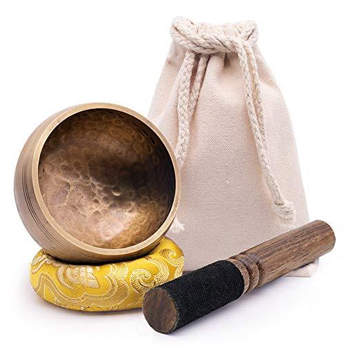 Koogel Tibetische Klangschale, 8.5cm Klangschalen Set mit Klöppel und Kissen Singing Bowl für Meditation...