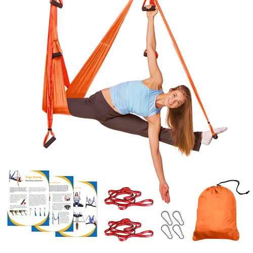Sotech Aerial Yoga Schaukel Yoga Hängematte Set mit Tragetasche und Verlängerungsgurten, Trapez Sling für Home Gym Anti-Schwerkraft Inversion Pilate Fitness, bis 300KG belastbar, Orange/Rot