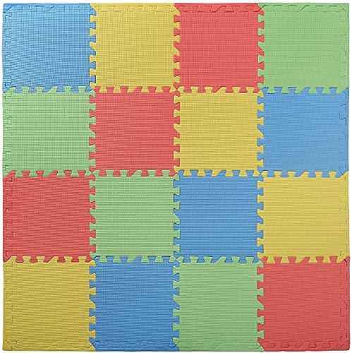 WUWEOT 16er 30,5 × 30,5cm Ineinandergreifende Puzzlematte Spielmatte Bodenschutzmatte Unterlegmatte Schaumstoffmatte Gymnastikmatte Fitnessmatte Turnmatte für Kinder Fitness Färbig