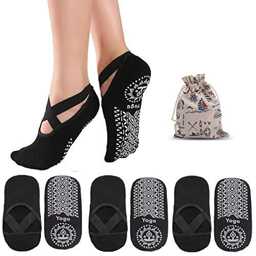 ZITFRI Yoga Socken Damen rutschfest Socke 3 Paar Schwarz Socken für Yoga Pilates Ballett Fitness...