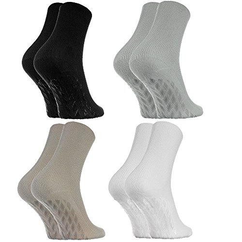 Rainbow Socks - Damen Herren Antirutsch Diabetiker Socken Ohne Gummibund ABS - 4 Paar - Schwarz Weiß Beige...