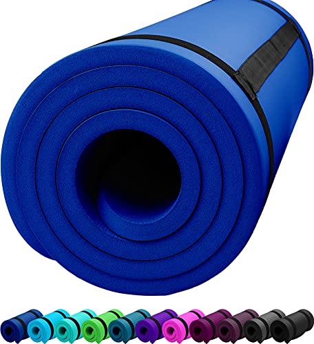 ReFit Fitnessmatte Yogamatte Navy Blau Blue 1.5 cm rutschfest gelenkschonend geruchsneutral EXTRA dick weich groß 183 cm x 61 cm x 1.5 cm mit praktischem Trageband Fitness Sport Yoga Matte