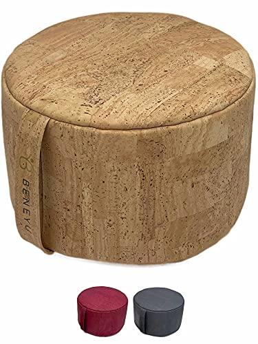 beneyu ® Wohltuendes Premium Meditationskissen aus Kork - Wasserabweisendes und Formstabiles Yogakissen/Meditationskissen für eine effektive Entspannung