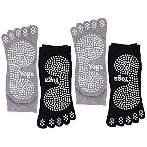 CaiDieNu Pilates Socken mit Zehen rutschfeste Yoga Socken mit Gummisohlen,Noppen Socken Ideal fürTanz...