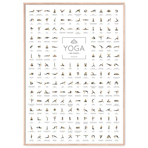 JUNOMI® Yoga Poster DIN A2 mit 168 Posen und Asanas, Yoga Zubehör für Studios und Übungen Zuhause, perfekte Yoga Geschenkidee, Yoga Übungen für Anfänger und Profis | ohne Rahmen