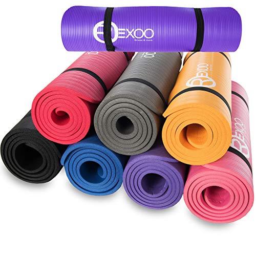 REXOO Pilates Yogamatte Fitnessmatte Gymnastikmatte Sportmatte Matte, Größe: 183cm x 61cm x 1cm, Farbe: Lila