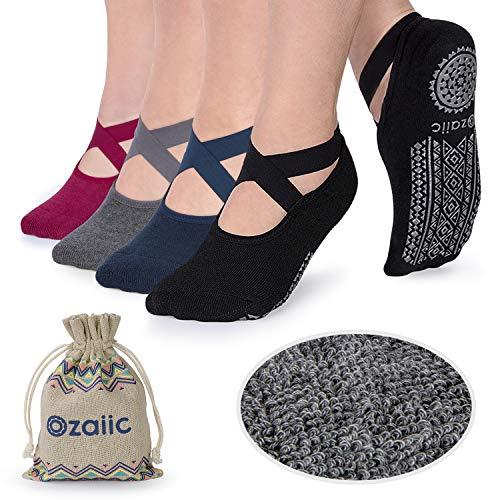 Ozaiic Yoga Socken rutschfeste für Damen für Pilates, Barre, Ballett, Tanz (EUR 35-41, 4 Paar-Schwarz / Navy / Dark Grey / Crimson)