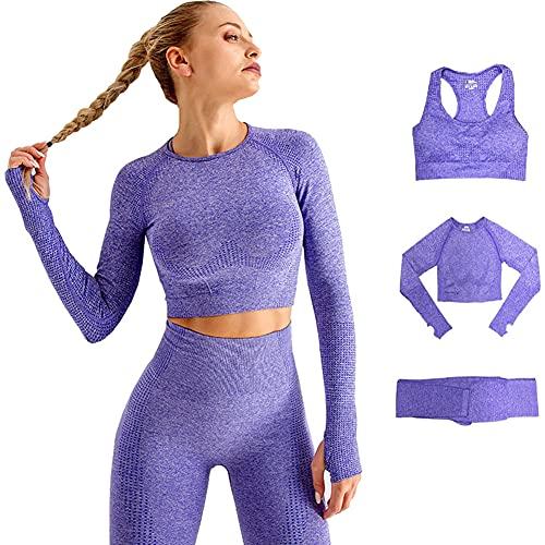 DONYKARRY Damen 3-teiliges nahtloses Outfit, Workout-Sets, Fitnessstudio, Laufen, Yoga, Sportbekleidung, 3-teiliges Trainingsanzug, Leggings und Stretch-Sport-BH, Fitnessstudio, Jumpsuit(Lila,S)