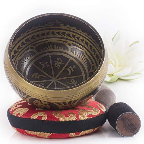 Silent Mind tibetische Klangschale Set ~ Antik Design ~ mit hochwertigem Holz Klöppel und Himalaya Kissen ~...