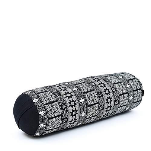 Leewadee Pilatesrolle Yoga Bolster Yogakissen Ökologisches Naturprodukt, 65x25x25 cm, Kapok, schwarz